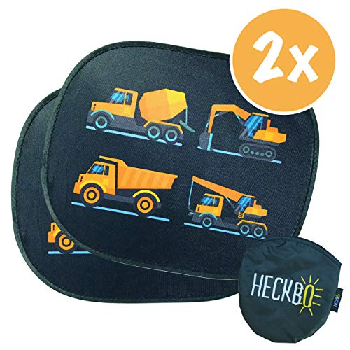 HECKBO® Selbsthaftende Auto Sonnenblende - Sonnenschutz für Kinder [2 Stück] | für Seitenfenster & Heckscheibe | Motiv: Baufahrzeuge | inkl. gratis Tasche