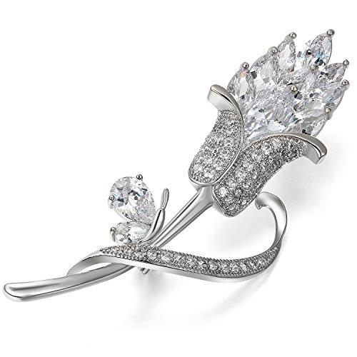 Jewelrywe Gioielli Spilla Pin prezioso argento con strass attraenti, Elegante giglio fiori Abito da sposa Spilla Pin, Il regalo di Natale