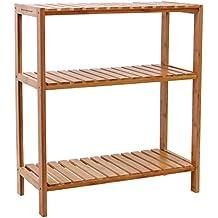 Songmics Estantería de bambú para baño Librería Organizador Zapatero 59*26*66cm BCB33Y