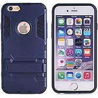 Wkae® iPhone 6S Plus funda, 2 en 1 Nueva Armour estilo duro h¨ªbrido de doble capa de armadura Defender PC Hard Fundas con Soporte [prueba de golpes Caso] para iPhone 6 Plus 5.5 pulgadas por Diebell (Azul-Negro)