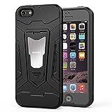 HOOMIL Funda iPhone SE,Funda iPhone 5S Negro Armor Funda para Apple iPhone SE/5S/5 Carcasa Shock-Absorción Silicona Case - Negro (H3229)