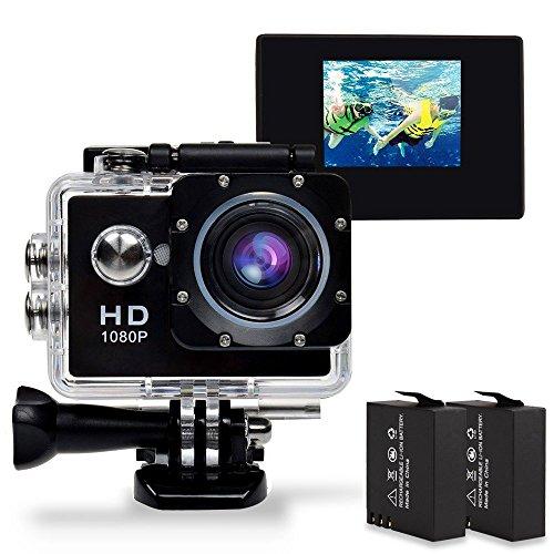 GBB fotocamera impermeabile di azione di sport 1080P 12MP 170 ° grandangolare con 2 batterie e libero Accessori Outdoor Kit - Nera