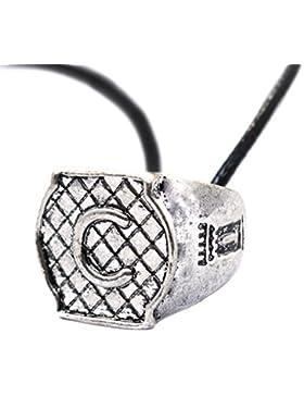 Initiale gravierter Ring–Chroniken der Unterwelt Halskette–City of Bones Angelic Power Ring Halskette–Familie...