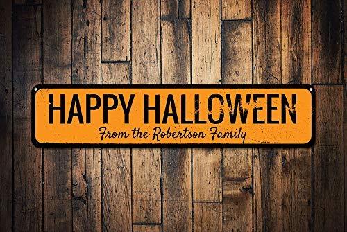 ween Family Namenschild Personalisierte Spukhaus, Halloween-Dekoration, personalisierbare Familie, Metallschilder, lustiges Aluminium-Schild für Garage, Haus, Hof, Auffahrt. ()