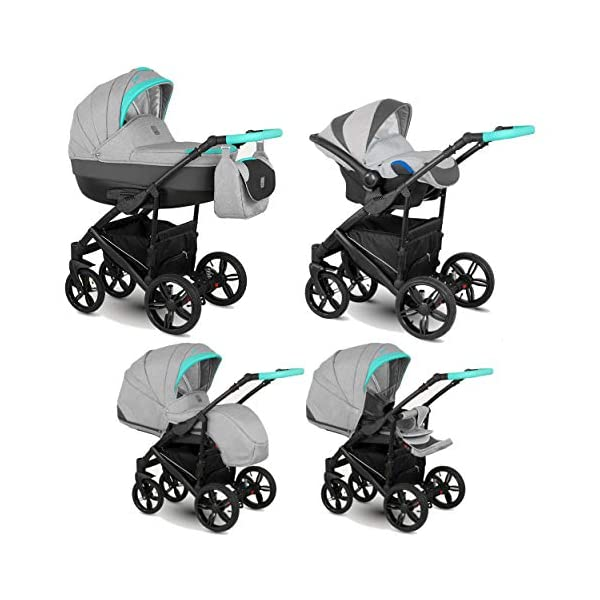 Lux4Kids Stroller Pram 2in1 3in1 Isofix Car seat 12 Colours Free Accessories Leo Grey Mint BA-3 4in1 car seat +Isofix Lux4Kids Lux4Kids Leo 3in1 or 2in1 pushchair. You have the choice whether you need a car seat (baby seat certified according to ECE R 44/04 or not). Of course the car is robust, safe and durable Certificate EN 1888:2004, you can also choose our Zoe with Isofix. The baby bath has not only ventilation windows for the summer but also a weather footmuff and a lockable rocker function. The push handle adapts to your size and not vice versa, the entire frame is made of a special aluminium alloy with a patented folding mechanism. 1
