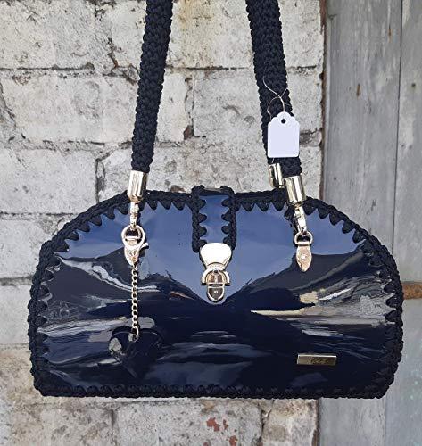 Schwarz Lack Bowler Tasche Klassischen Stil Abend Umhängetasche zu kleinen schwarzen Kleid Business styles Arzt Tasche schwarz Handtasche Büro Zubehör