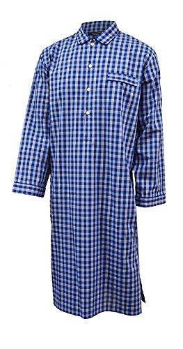 Lloyd Attree & Smith Herren Luxus-Nachthemd, 100% Baumwolle, marine-kariert Blau