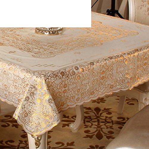 (XKQWAN Square Tischdecke PVC Quadratische Tischdecken Wasserdicht Vermeiden Sie Bügeln Tabellenabdeckung Pad Europ?isch Stempeln Party Tischdecke-E 135x135cm(53x53inch))