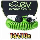 EV Cables chc007-s (10m) Câble enroulé en Spirale/Charge Rapide, 16A/10m