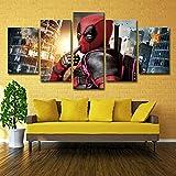 ZEMER 5 Pièces Affiche De Cinéma Deadpool Peinture Impressions sur Toile Moderne Décor À La Maison Toile Super-héros Photo Art pour Le Salon,A,30x45x2+30x60x2+30x75x1