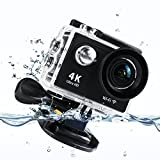 EpochAir H9RS Waterproof Anti-shaking Video Sports Action Camera, 2 Inch 4K WIFI Ultra HD 12MP Underwater Photography 170 Degree Wide Angle Rechargeable DV Camcorder Remote Control -Black - Betheaces - amazon.co.uk