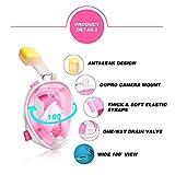 Easybreath Vollgesichtsmaske für Kinder und Erwachsene, Schnorchel- und Tauchmaske, Anti-Fog- und Anti-Leck-Technologie mit 180° Blickfeld  (inkl. wasserdichter Handytasche) - Pink, L/XL