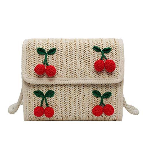 LILIHOT Damenmode Messenger Bag Kirsche Accessoires Volltonfarbe Woven Bag Damen Rattan Tasche Handarbeit Umhängetasche Strandtasche Vintage Einkaufstasche (Shopper Woven)