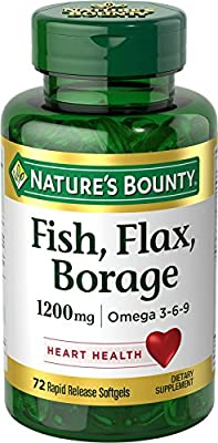 Fish, flax, Borage, Omega 3-6-9, 1200 mg, 72 Softgels from Nature's Bounty