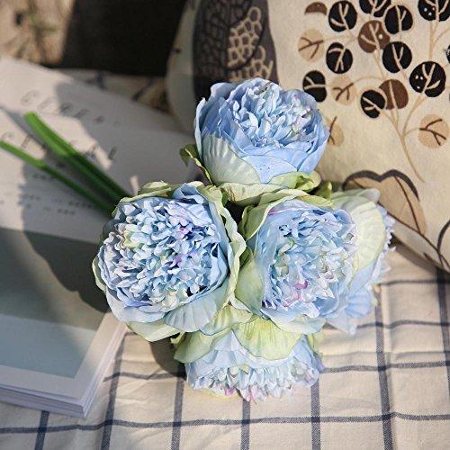 Doublehero 5 Köpfe Kunstseide gefälschte Blumen Pfingstrose Blumen Hochzeitsstrauß Hochzeitsstrauß Braut Hortensien Dekor Simulationsblume Pfingstrose Blumen Blumenstrauß Gefälschte (D)
