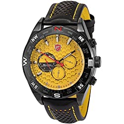 Shark Mens 6 Hands Date Day Yellow Dial Sport Quartz Wrist Watch + Box SH083