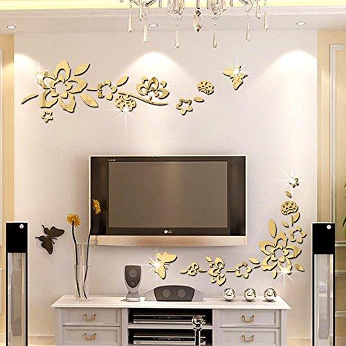 Ufengke® 3d fiori diagonali effetto specchio adesivi murali fashion design arte adesivi da parete decorazione domestica d'oro