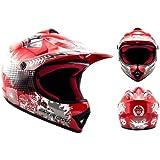 ARROW AKC-49 Red Casco Moto-Cross MX Pocket-Bike Scooter Racing Motocicleta NINOS Junior Helmet Cross-Bike Off-Road Sport Kids Quad Enduro, DOT Certificado, Incluyendo Bolsa de Casco , Rojo, XL (59-60cm)