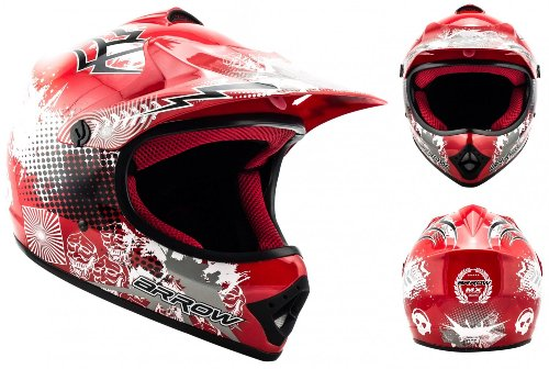#ARROW HELMETS AKC-49 Red Moto-Cross-Helm Cross-Helm Kinder-Cross-Helm Helmet Sport Junior Kids Quad Pocket-Bike Enduro MX Motorrad-Helm Cross-Bike Kinder-Helm, DOT zertifiziert, inkl. Stofftragetasche, Rot, S (53-54cm)#