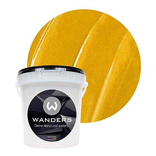 Wanders24® Metall-Optik (1 Liter, Gold) Wandfarbe Metallic - zum Spachteln im Metallic Look - in 17 edlen Farbtönen erhältlich - Made in Germany