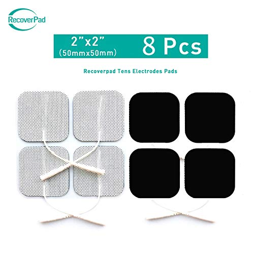 RecoverPad 8 Stück 50x50mm Professionell TENS Elektrode Pads,Dritte Generation Japanisches Gel Latexfrei wiederverwendbar Elektrode(CE/FDA Genehmigt),Verbessert Selbstklebend,Hautfreundlich (MEHRWEG)