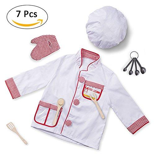Leiyini Chef Rollenspiel Kostüm Kochen Verkleiden Set Küche Pretend Play Spielzeug für Kleinkinder Kinder
