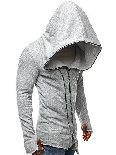 OZONEE Herren Kapuzenpullover Hoodie Sweatshirt Assanin's BREEZY 9084 Grau_JS-2036-10