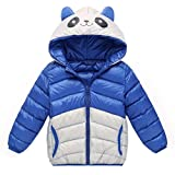 Longra Baby Kinder Mädchen Junge Winterjacke Steppjacke Sweatjacke Wärmejacke Jacke Parka Gesteppt mit Panda Kapuze Unisex Kinder Daunenmantel Daunenjacken Down Jacket (100CM 24Monate, Blue)