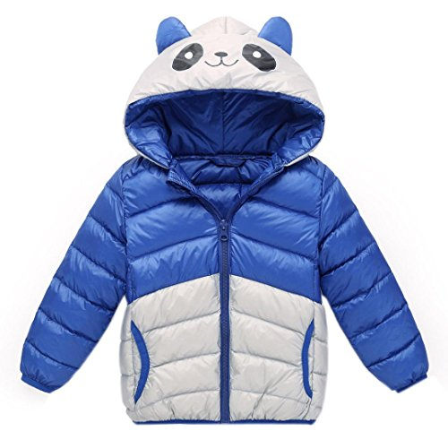Longra Baby Kinder Mädchen Junge Winterjacke Steppjacke Sweatjacke Wärmejacke Jacke Parka Gesteppt mit Panda Kapuze Unisex Kinder Daunenmantel Daunenjacken Down Jacket (110CM 3Jahre, Blue) (3t-jungen Blazer)