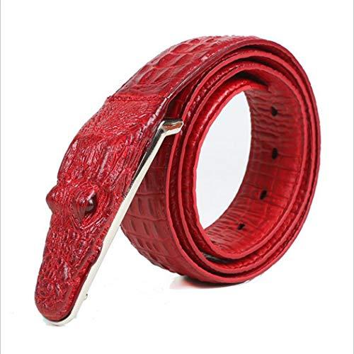 PIDAIKING Gürtel,Herren Gürtel Rotem Krokodil Muster Modellierung Legierung Schnalle Gürtel Für Männer Business Casual Male Gurt, 110 cm. -