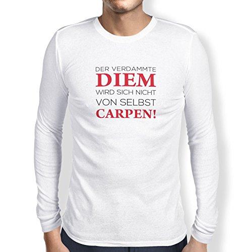 TEXLAB - Verdammter Diem - Herren Langarm T-Shirt Weiß