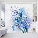 Bilderwelten Schiebegardinen Set - Aquarell Blumen Iris - 4 Flächenvorhänge, Aufhängungssystem: Wandhalterung, Größe HxB: 250 x 240cm (4 Flächenvorhänge á 250 x 60cm)