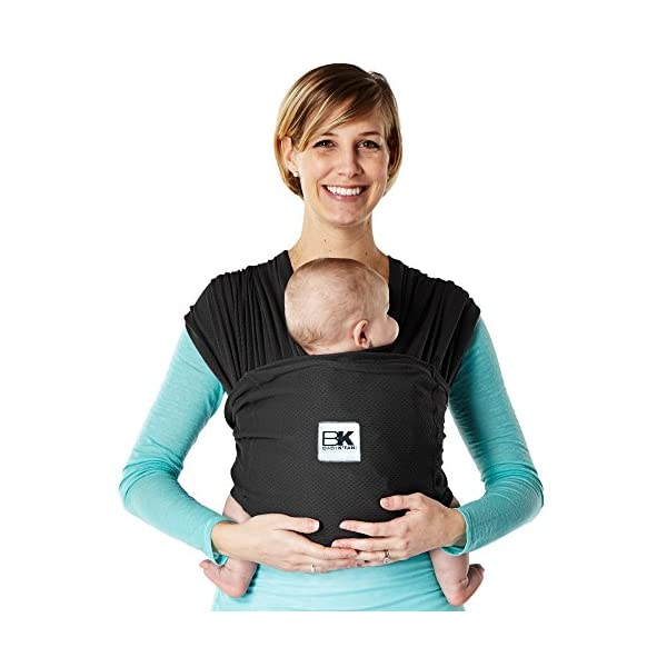 Baby K'Tan Baby Carrier Black Breeze (Large) Baby Ktan Easy to use and put on: NO WRAPPING INVOLVED.  6 positions to conveniently carry baby & toddlers from 8 lbs to 35 lbs 50% breathable cotton jersey 50% breathable mesh. Reduces heat & moisture. No buckles, rings, snaps, clasps, padding, metal or plastic Unique HYBRID double-loop design holds baby securely and evenly distributes weight across back and both shoulders. Washer & dryer safe 1