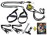 BodyCROSS Schlingentrainer Komplettset mit Functional Training Buch | Premium Sling und Sling mit Umlenkrolle | abnehmbare Griffe | inkl. Türanker und Befestigungsschlaufe | Made in Germany