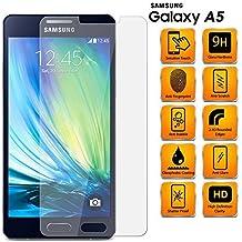 Samsung Galaxy A5 SM-A500FU - Protector De Pantalla De Cristal Templado Anti Rasguños HD Transparente A Prueba De Rompimiento 9H Duro Protección Lámina 0.3mm