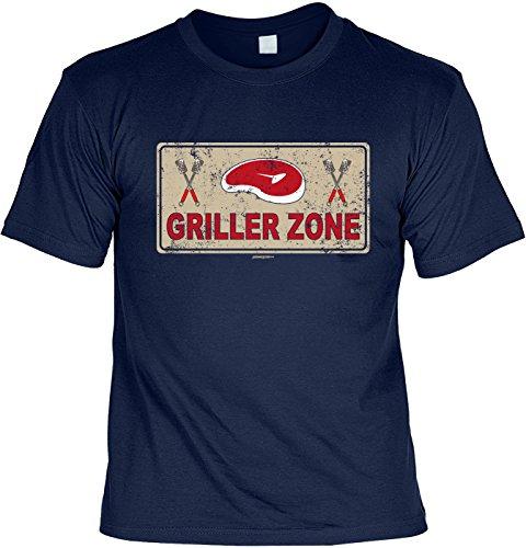 Motiv/Grill/Spaß-Shirt/Fun-Shirt/Rubrik lustige Sprüche: Griller Zone - geniales Geschenk Navyblau