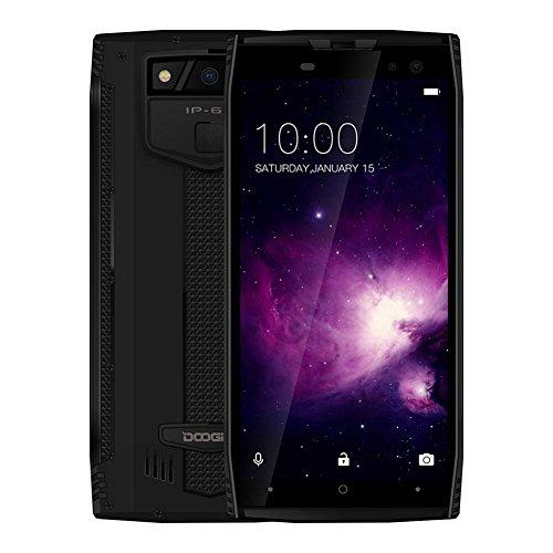 Handys, DOOGEE S50 Wasserdicht Android 7.1 4G RAM 6 GB + ROM 64 GB Telefon (Schwarz)