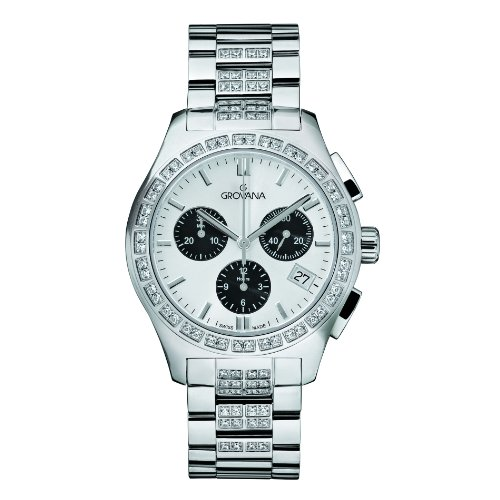 GROVANA 5096.9732 Unisex Quartz Swiss Watch with Silver Dial Chronograph Display and Silver Stainless Steel Bracelet