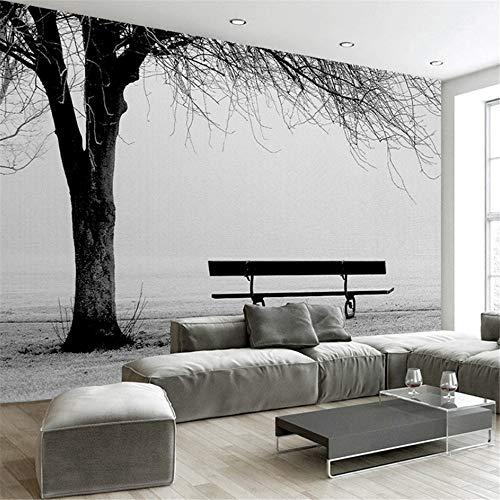 Hwhz Benutzerdefinierte 3D Fototapete Wandbild Schwarz Weiß Big Tree Bank Abstrakte Kunst Wandmalerei Moderne Wohnzimmer Sofa Tv Hintergrund Dekor