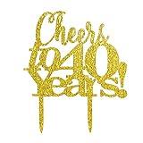 INNORU - Decorazione dorata per torte di buon compleanno dei 40 anni, con scritta in lingua inglese 'Cheers to 40years' (lingua italiana non garantita)