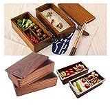 Japanische Bento Box Holz Lunchbox, Doppelschicht-Design Der Lunchbox Ermöglicht Es Ihnen, Mehr Nahrung Zu Transportieren, Kontaminationen Zu Vermeiden Und Eine Wundervolle Picknickzeit Zu Haben