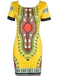 Impreso Étnico Ocasional Mujeres Boho Vestido De La Túnica Amarillo 2XL