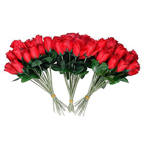 S/O 72er Pack Hecken 26cm Rosen rot Kunstblumen Seidenblumen Rote Rose