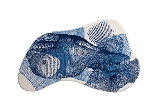 Grund KARIM RASHID Exklusiver Designer Badteppich 100% Polyacryl, ultra soft, rutschfest, ÖKO-TEX-zertifiziert, 5 Jahre Garantie, KARIM 27, Badematte 90x150 cm, blau