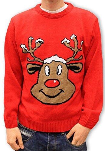 Jersey Navidad Retro Novedad – Reno Rojo Sonriente – Unisex Para Hombres y Mujeres
