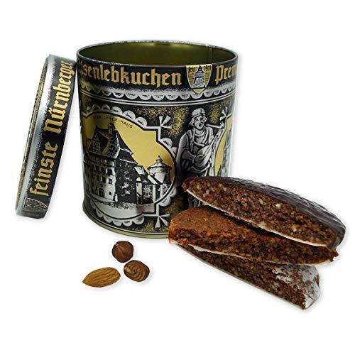Lebkuchen - original Nürnberger Mandel Elisen-Lebkuchen - ohne Mehl - handgefertigte Qualität - prämierte Meisterhändler-Manufaktur (Lebkuchen Dose gemischt 380 Gramm)