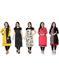 Pramukh Fashion Crepe Semi Stichead Pack of 5 Kurti