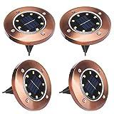 Solar Bodenleuchten, ALED LIGHT 8 LED Aussen Solarleuchten Garten Wegeleuchten Außenleuchte Bodenleuchte Wasserdicht, Solar Landschaft Beleuchtung mit Bodenpfahl, für Hof Rasen (Warmes Weiß, 4 Stück)