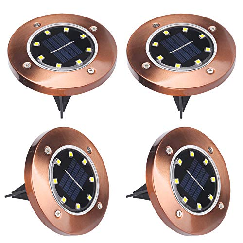 Luces Solares para Exterior Jardin 8 LEDs, ALED LIGHT 4 Pcs IP65...