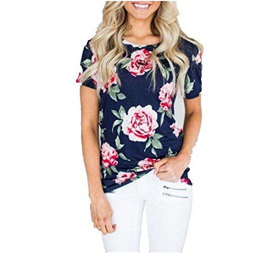 SHUNLIU Kurzarm Blumen gedruckte Damen T-Shirt Blau